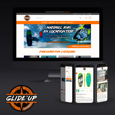 GLIDE'UP Surfshop - Identité visuelle + Site internet e-commerce